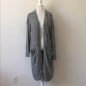H&M long gray open knit cardigan
